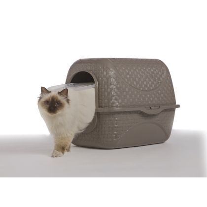 La lettiera Privé è il box elegante e riservato, progettato per la privacy dei gatti. Disponibile nelle varianti colore tortora e ghiaccio, dispone anche di vano porta sacchetti con filtro per catturare ogni odore e la paletta raccogli-sporco che ha anche la funzione di impugnatura. #bamagroup #bamapet #lettiera #pet