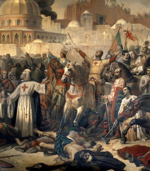 """Detail de : Premiere croisade : """"La prise de Jerusalem par les croises le 15/07/1099"""" Godefroy de Bouillon rendant grace a Dieu en presence de Pierre l'Ermite (ou l'Hermite, 1053-1115) apres la prise de la ville. Peinture d'Emile Signol (1804-1892) 1847 Dim. 3,24 x 5,57 m. Versailles. Musee Du Chateau --- First Crusade: Taking of Jerusalem by the Crusaders, 15 July 1099. Godfrey of Bouillon ( or Godefroi - Godefroy de Bouillon) giving thanks to God in the presence of Peter the Hermit after…"""