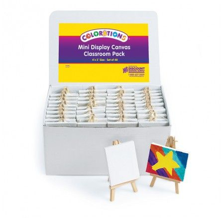 Colorations® Mini Display Canvas Classroom Pack Set of 48 - Perfect for art and craft, party favours, in class projects, self portraits and more!