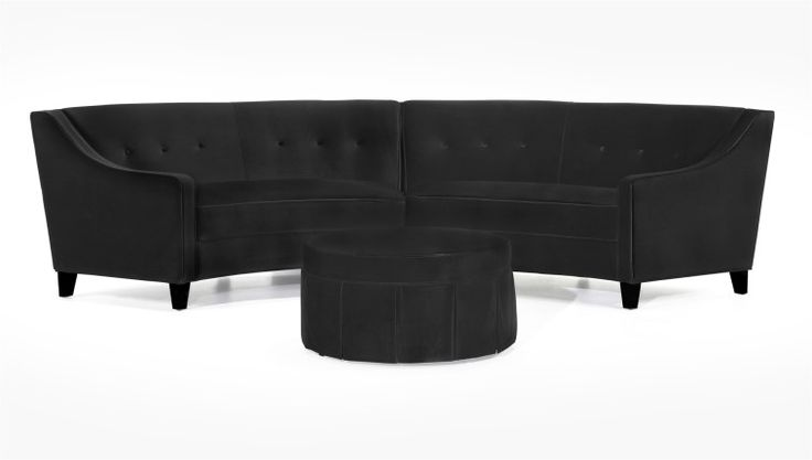 Vintage Black Velvet Arched Sectional Couch Combined Skirted Rounded Ottoman Coffee Table With Furniture Sofa  Also