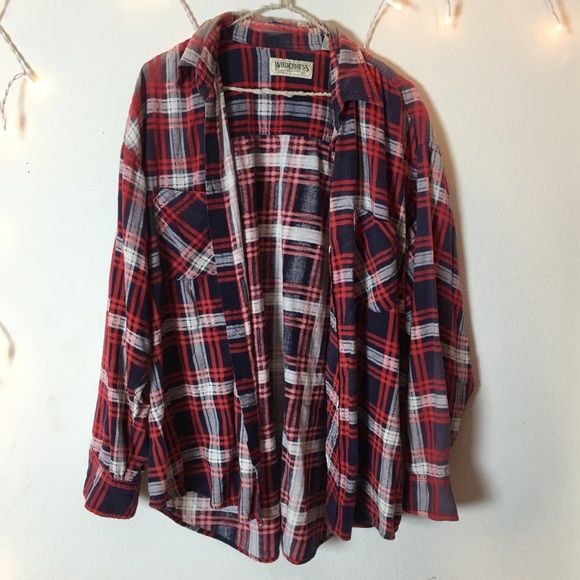 Brandy Melville Vintage Oversized Flannel Cute Brandy Melville Tops Button Down Shirts