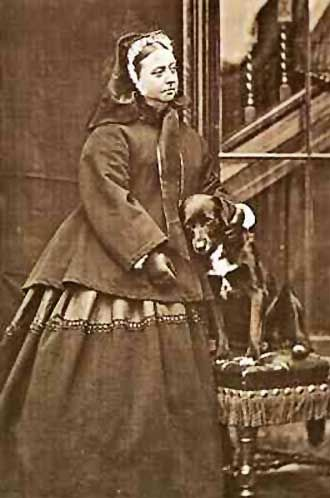 Queen Victoria in deep mourning, with her dog Sharp
