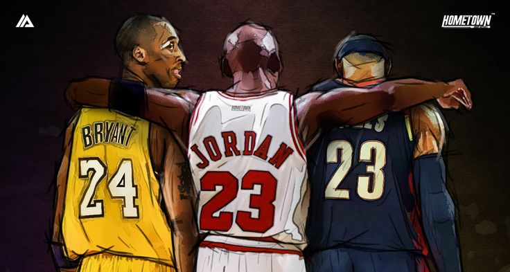 Artist Jimmy Mitchell captures Chicago Bulls legend Michael Jordan giving a young Kobe Bryant and LeBron James words of wisdom on the court.