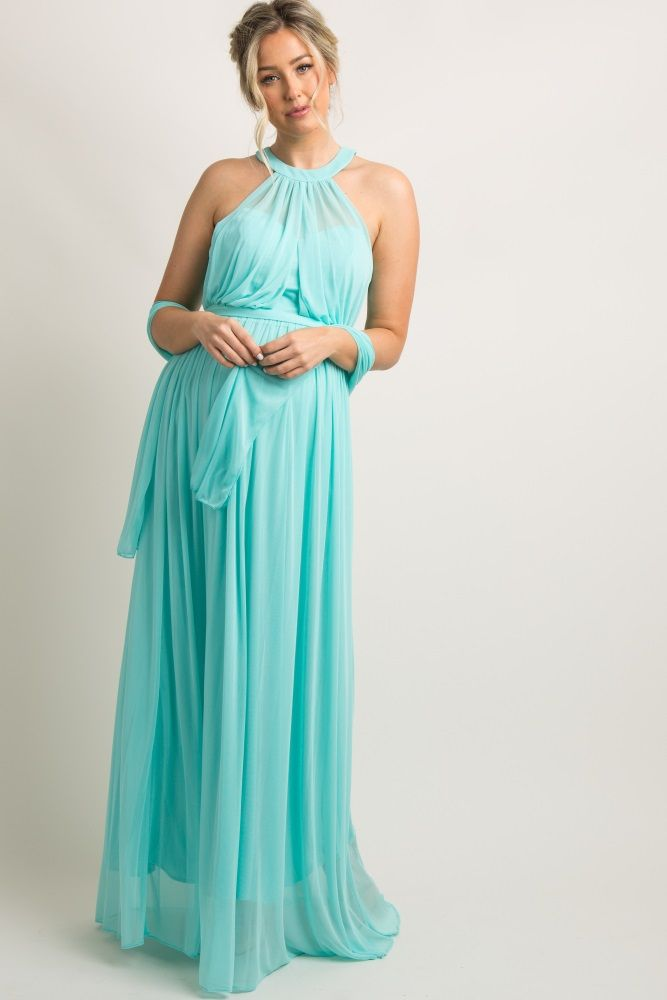 2e81f28855952 Mint Green Halter Tulle Maternity Evening Gown   Maternity Clothes ...