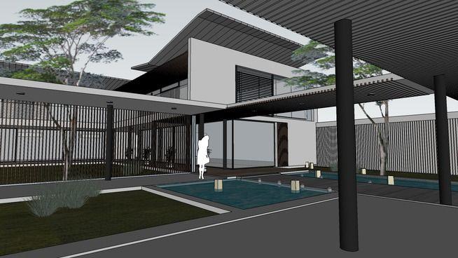 asian contemporary villa - 3D Warehouse