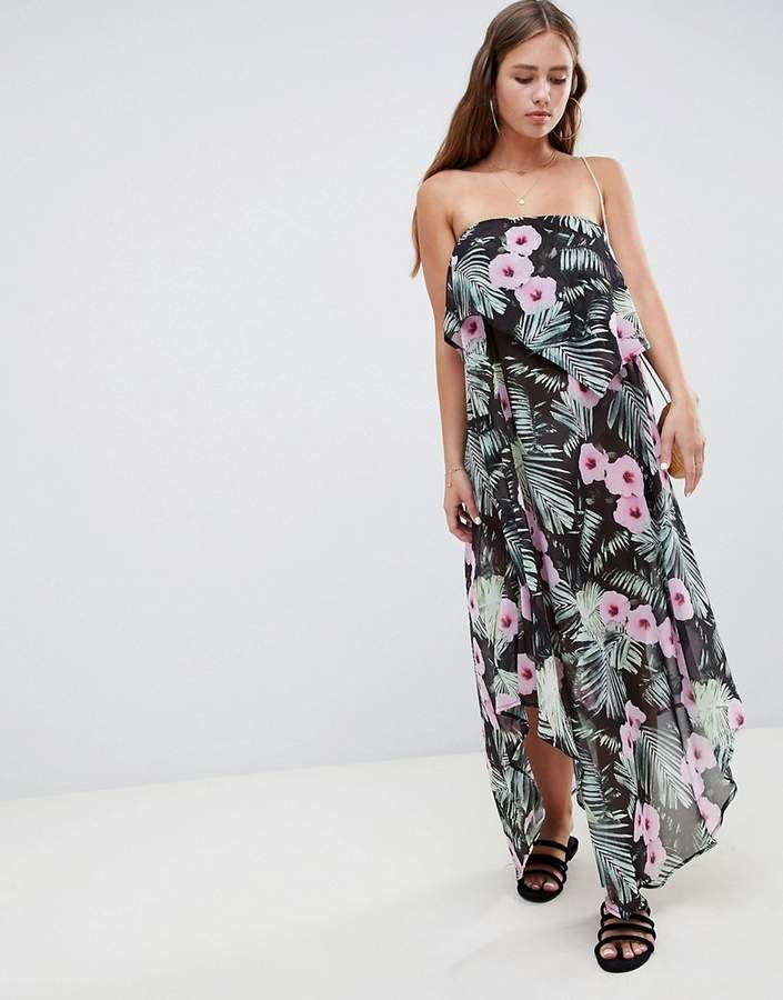 Asos Design Asos Design Floaty Layer Bandeau Maxi Beach Dress In Tropical Print 19 Beach Maxi Dress Long Sleeve Bridal Dresses Holiday Dresses Women