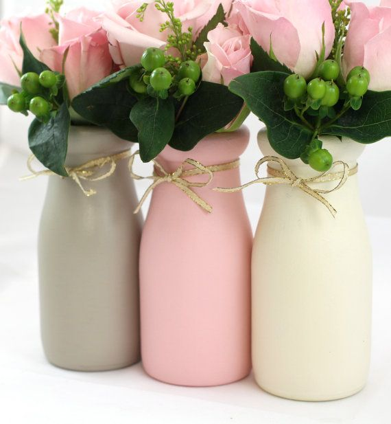 Pink Gray Painted Jars Milk Bottles Vases Centerpieces  Wedding Baby Shower Nursery Mason Chalk Paint Rustic Cottage Shabby Chic Home Decor