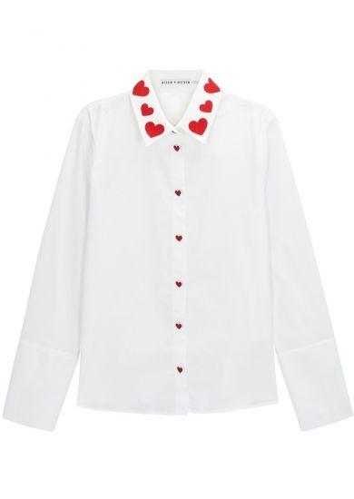 3686da98 Alice + Olivia Darwin heart-embroidered poplin shirt - Harvey Nichols