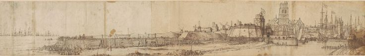 Willem van de Velde the Elder (1611-1693), A View of Dunkirk Harbor, Probably During the Blockade by the Dutch, 1639, Pen and brown ink, over graphite, traces of red chalk, on five joined pieces of paper.
