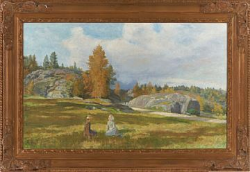 KITTY KIELLAND STAVANGER 1843 - CHRISTIANIA 1914  Two girls in a meadow  Oil on canvas, 57x93 cm  Signed lower left: Kitty L. Kielland