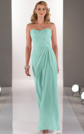 Sleeveless Strapless Natural Zipper A-line Bridesmaid Dresses