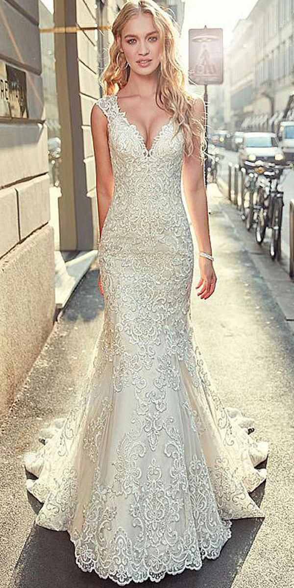 [283.60]  Stunning Tulle V-neckline Mermaid Wedding Dress