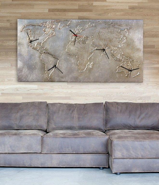 P4546 - SILVER WORLD - PINTDECOR Cm 140x70  Struttura telata decorata a mano con cinque quadranti, lavorazione materica in rilievo e foglia argento.  #orologio #p4546 #silver #world #pintdecor #outlet