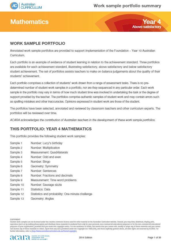 Year 4 Mathematics - work sample portfolio - above satisfactory