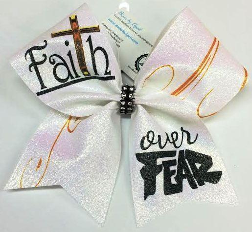 Bows by April - FaiTh Over Fear White Glitter Cheer Bow, $15.00 (http://www.bowsbyapril.com/faith-over-fear-white-glitter-cheer-bow/)