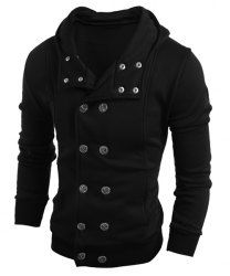 PU Leather Stand Collar Horizontal Zipper Epaulet Rib Spliced Long Sleeves Slimming Jacket For Men (BLACK,M) | Sammydress.com Mobile