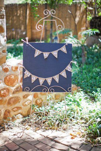 """""""Just Married"""" bunting and blackboard sign from this Rustic Green & Cream Die Akker Wedding Romance #Rustic South African Real Wedding 