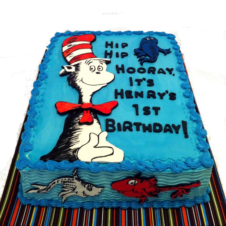 """May 2013. Dr. Seuss """"Cat in the Hat"""" and """"One Fish Two Fish"""" themed birthday cake. White cake with buttercream icing, fondant characters, hand-drawn details. Silver Cake Studio, Houston."""