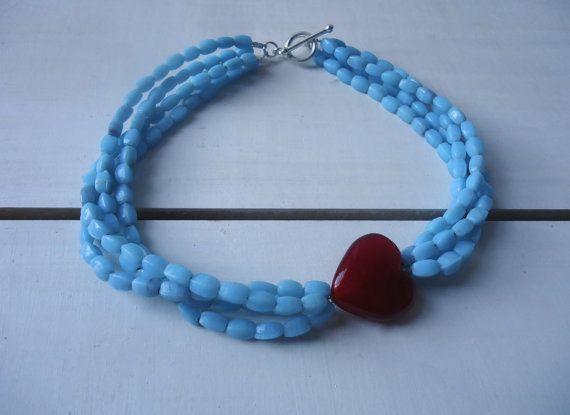 Cheery Cherry Powder Blue and Red Heart Choker by CustardFox, $23.00
