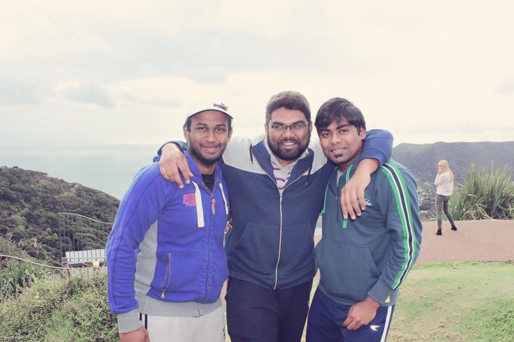 """""""Hi - my name is Kumar, I'm from India, I'm doing masters at AUT. This is a pic with my friends at Piha beach"""""""
