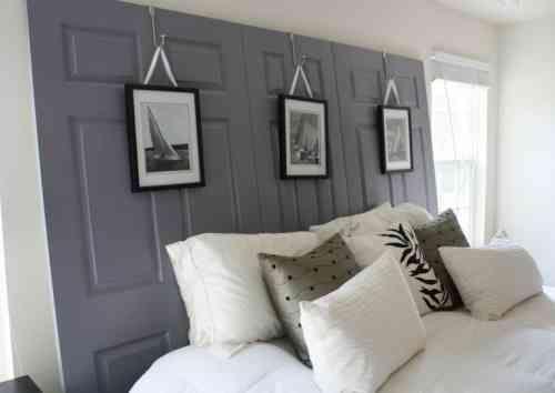 fabriquer une tête de lit en bois de couleur grise