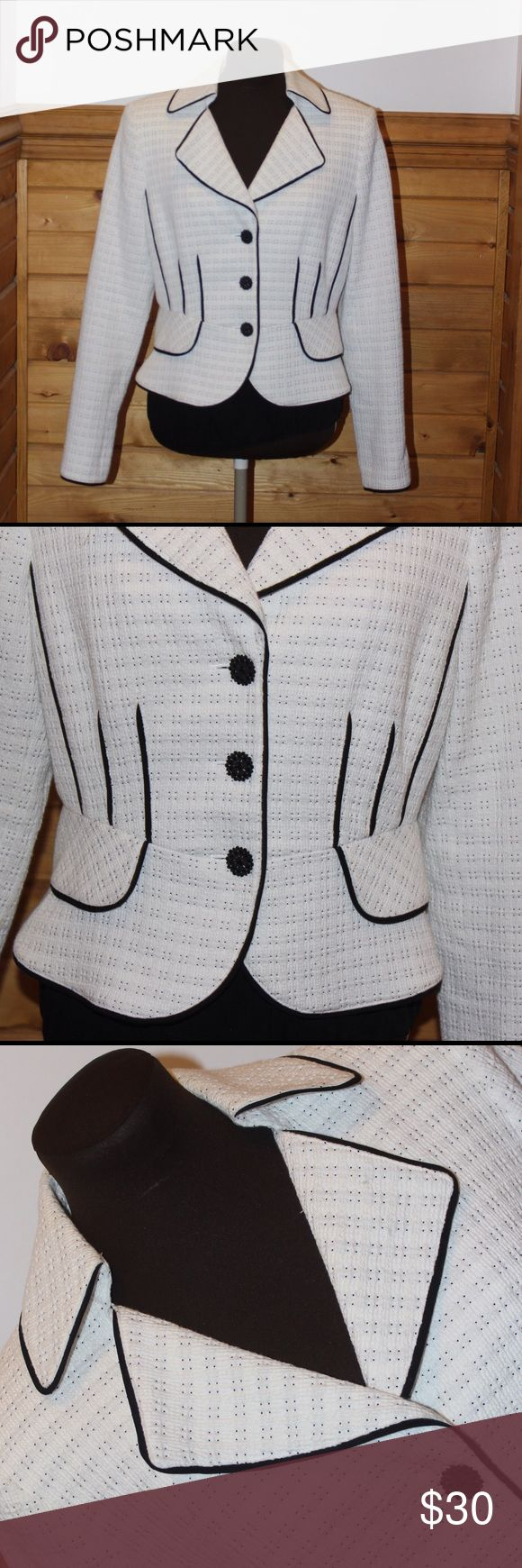✨ Kay Unger ✨ This Jacket is gorgeous!!! I would keep it, but I'm terrible with white- so I am afraid to wear it ! Jacket has 3 button down that are very decorative. Made to flatter your womanly figure. Is in GREAT condition. Kay Unger Jackets & Coats Blazers