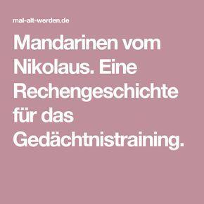 Mandarinen vom Nikolaus. Eine Rechengeschichte für das Gedächtnistraining.