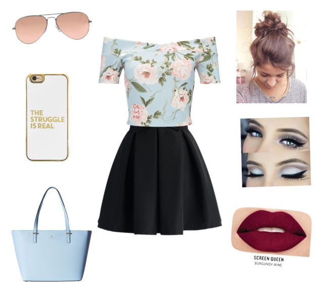 """""""Untitled #41"""" by nat2124 on Polyvore featuring Chicwish, Miss Selfridge, Smashbox, Ray-Ban, BaubleBar and Kate Spade"""