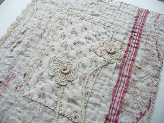 "Antique Quilt Fragment Textile Art Piece, ""Redeemed"" A Salvaged Victorian Quilt Piece, Reworked Textile Art Collage, Antique Lace &  Buttons"