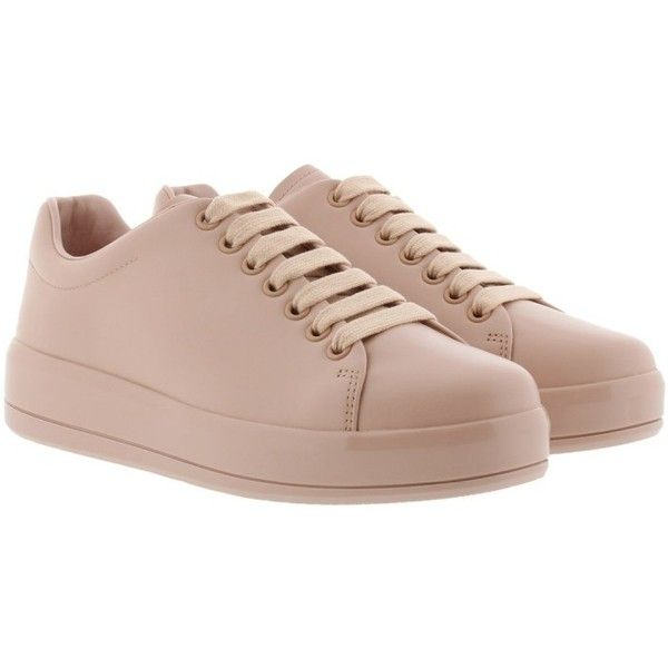 Prada Sneakers - Mirror Sneaker Pesca - in rose - Sneakers for ladies (18,280 THB) ❤ liked on Polyvore featuring shoes, rose, cap toe shoes, prada shoes, rosette shoes, prada and rose shoes