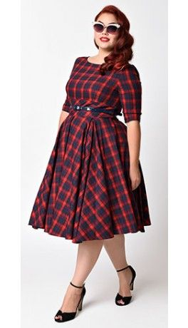 Plus Size Vintage Style Red & Navy Blue Tartan Plaid Half Sleeve Hepburn Swing Dress