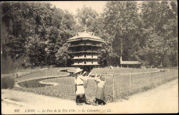 °Carte postale Lyon Rhône, Le Parc de la Tête d'Or, L'ancien Colombier - 1910 - @ChansLau