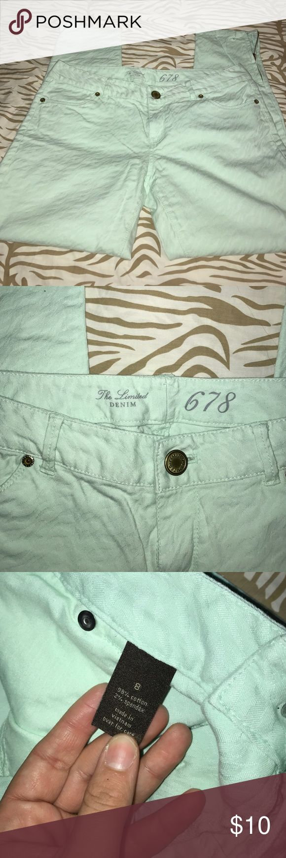 Mint Green Jeans Mint Green Zipper Ankle Jeans The Limited Jeans Skinny