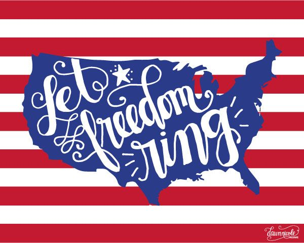 Hand-Lettered Let Freedom Ring Print
