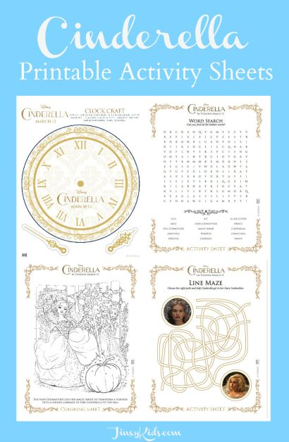 Cinderella Printable Activity Sheets with games, crafts, puzzles, colorings sheets and more