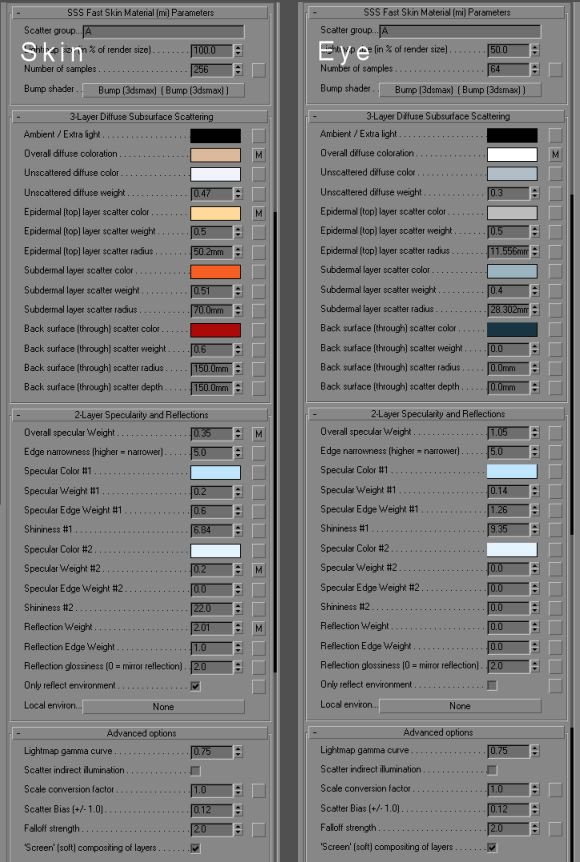Material settings for skin Mental Ray skin shader