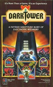 An epic fantasy quest to recover an ancient magic scepter from a tyrant king in his Dark Tower, brought to life in electronic form.  To vanquish the usurper, players search the four realms of the circular game board for three keys to unlock the tower's gate.  On this journey, there are battles to be fought against roving bands of brigands, dragons, plague and hunger.  There are bazaars to visit to purchase supplies and assistants for the quest.  There are uncharted territories to get lost...