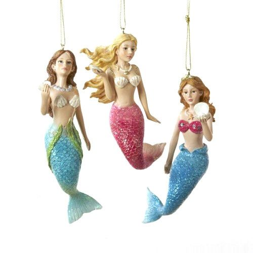 Beautiful mermaid under the sea. Its made of resin. Perfect for gift giving and to your holiday decorations. Hung closer to the tips of the branches where they can be seen and appreciated more easily.