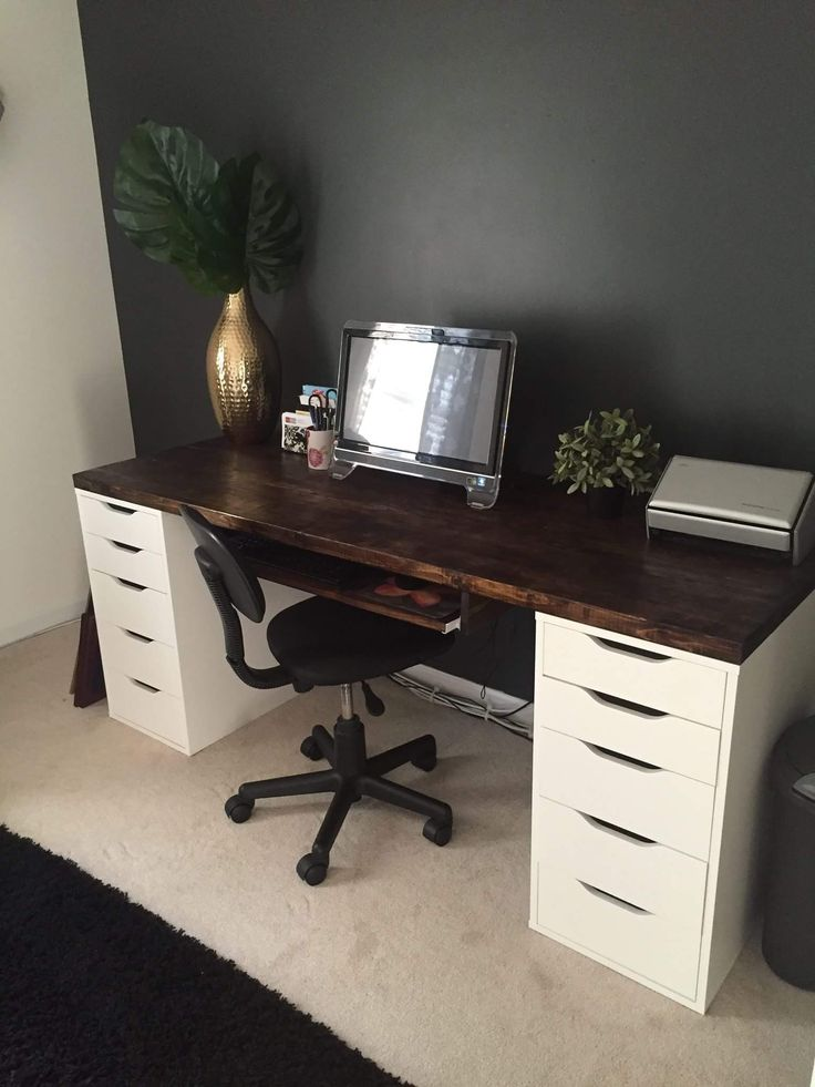 Office desk with IKEA ALEX drawer units as base. Except use as a makeup vanity instead.