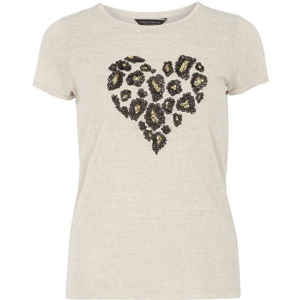Dorothy Perkins Leopard Heart Sequin Tee (41 BAM) ❤ liked on Polyvore featuring tops, t-shirts, beige, short sleeve tops, sequin short sleeve top, beige top, dorothy perkins and leopard print t shirt
