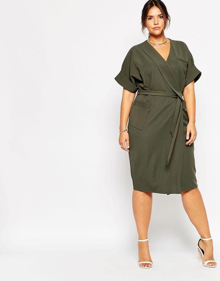 Image 4 ofASOS CURVE Obi Wrap Dress With Multi Stitch