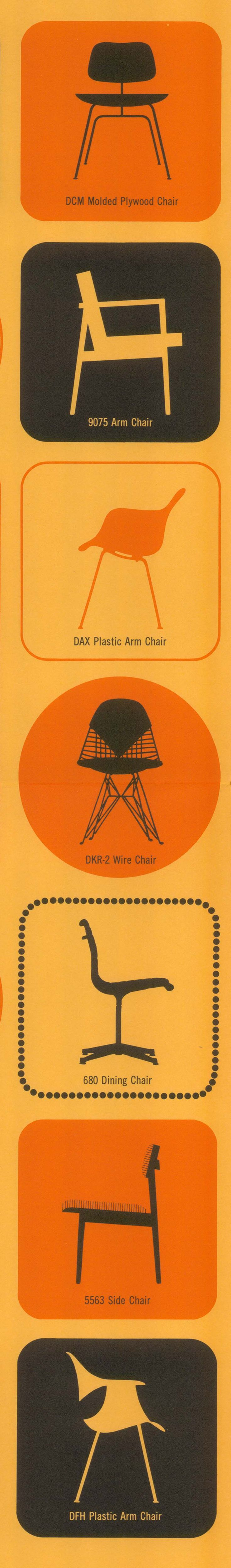 A nice variety of #Eames and #georgenelson chairs from a vintage @hermanmiller poster