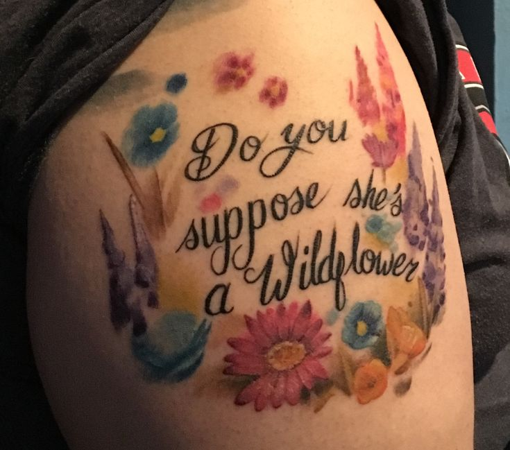Some what healed Alice in Wonderland quote with wild flowers done by Travis Combs @ Monkey Bones in Dayton Oh.. follow @dquocbuu like and repin it if you love it