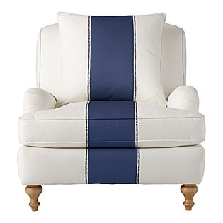 Navy Miramar Racing Stripe Chair Serena and Lily...Love these chairs, want them for our Livingroom.