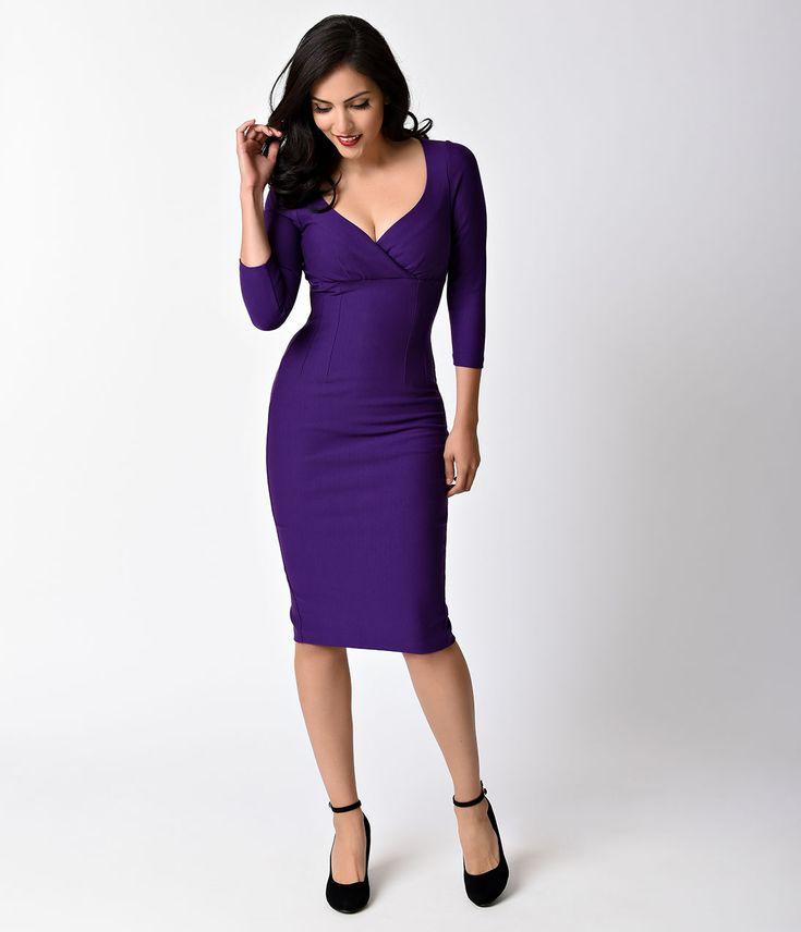 Glamour Bunny 1950s Plum Purple Melanie Stretch Cotton Wiggle Dress