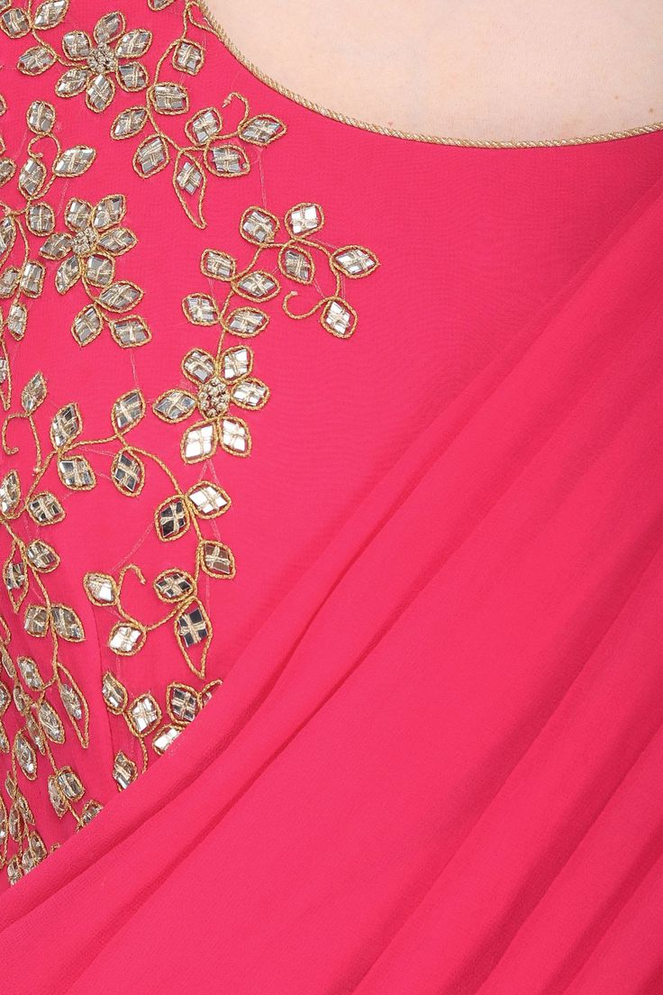 Lehenga blouse design in golden color and mirror work - Reddish Pink Mirror Work Saree With Matching Blouse Available Only At Pernia S Pop Up Shop