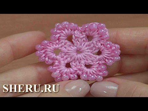 Вязание цветка с бисером и бусинами Урок 160 - YouTube