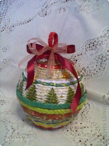 Поделка изделие Новый год Плетение Новогодние плетёнки Бумага газетная Салфетки фото 1