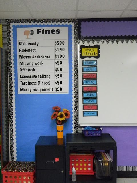 Classroom Economy: this wld be a cute idea. Start the year off each kiddo gets $50 or $100. They can earn more money throughout the year, but also have to pay for breaking rules: no homework, no name on paper, bullying, etc.