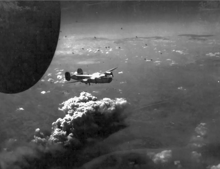 B-24 Liberator was bombing Csepel (Hungary)